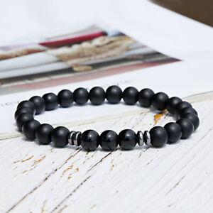 Men's Black Tourmaline Matte Agate Stone Women Men Yoga Beaded Energy Bracelets