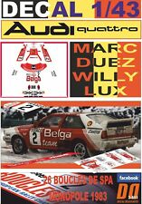"DECAL 1/43 AUDI QUATTRO A1 ""BELGA"" M.DUEZ BOUCLES DE SPA 1983 WINNER (03)"