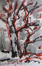 JOSE TRUJILLO ACRYLIC ON PAPER PAINTING PORTRAIT TREES IMPRESSIONISM WALL ART