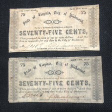 Lot Of 2 State of Virginia $.75 Cent 1862 Confederate Notes