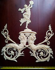 LARGE FRENCH ANTIQUE LOUIS XVI WHITE RESIN WALL MIRROR MOULDING DECORATION