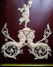 Gran Antiguo Francés Luis Xvi Blanco Espejo de pared de resina Decoración de moldeo