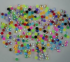 SS12 faceted jelly AB resin crystal 3mm round flatback nail art rhinestones glue