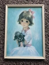 "Vintage / Retro Dallas Simpson ""BIG EYED GIRL WITH POODLE"" Picture 1960's"