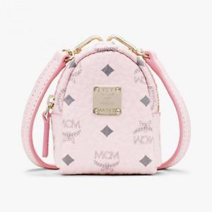 $350 MCM Powder Pink Visetos Crossbody Mini Bag Charm Key Ring MXZASVI02QH001