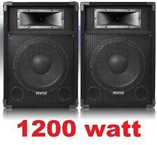 """😍 COPPIA CASSE AMPLIFICATE ATTIVE 1200W diffusori WOOFER 31 CM (12"""") KARAOKE DJ"""
