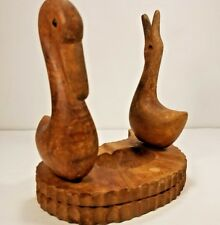 Vintage Wooden Pipe Stand Holder Rack Carved Ducks Birds Waterfowl