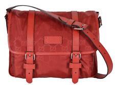 NEW Gucci 510335 Red Nylon Leather GG Guccissima Messenger Bag Crossbody Purse