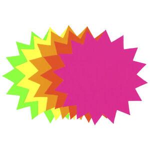 50 x Bright Neon Fluorescent Card Stars 11.4cm (4.5in) Price Display Label Tags