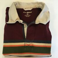 Eddie Bauer 100% Cotton Rugby Shirt Men's XLT Tall Maroon w Stripes Padded Elbow