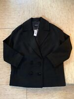 Women's Express Boxy Double Breasted Wool-Blend Coat Medium Black- New With Tags