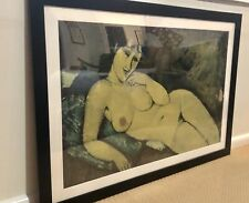VINTAGE ART FRAMED PAINTING PRINT NUDE LADY WOMEN MODIGLIANI RETRO TRETCHIKOFF