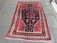 Vintage Worn Traditional Hand Made Rug Oriental Blue Red Wool Rug 186x119cm