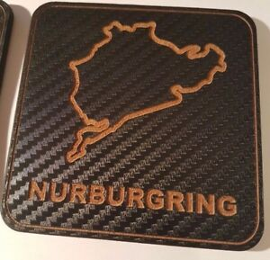 1 Carbon & wood motor racing circuit / track map coasters. (Pick your own)