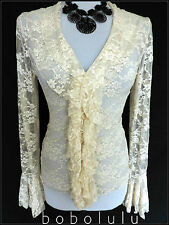 STUNNING SHEER LACE CREAM BLOUSE FRILLS RUFFLES BELL CUFFS VINTAGE VICTORIANA 12