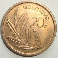 1980 BELGIUM 20 FRANCS NICE WORLD COIN