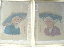 Peinture sur soie couple vieux chinois traditionnel