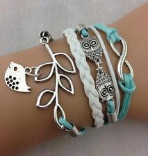 Infinity Bracelet Infinite Leather Braided Birds Mint Green Tree Owl Charm