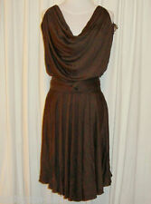 BNWT:ZAC POSEN SILK BLEND COFFEE BROWN COWL NECK FLIP DRESS AUS 12,US 6/8