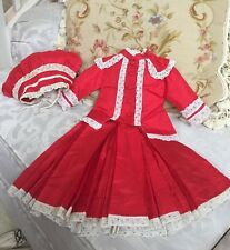 Antique Replica Dress & Hat for French Bru or Jumeau or German Doll