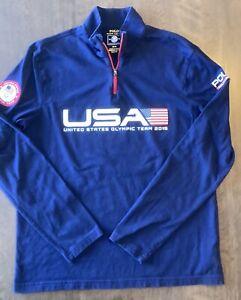 Polo Ralph Lauren Men's USA Olympic Team 2016 Navy 1/4 Zip Pullover Top Medium