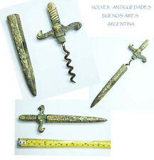 Unusual old bronze corkscrew medieval sword shap