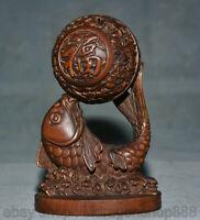 """4.8 """"Vieux buis chinois bois sculpté poisson fengshui chanceux boule statue"""