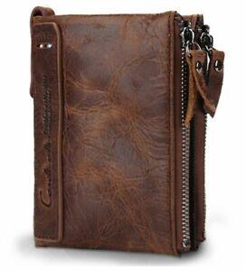 Men's Genuine Leather RFID Blocking Wallet (Brown)