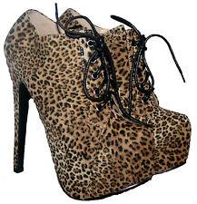 """Señoras 6 """"del talón Impresión De Leopardo Con Encaje shoe/boot Con Plataforma Oculta En Talle 4"""
