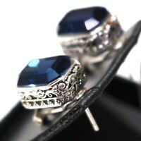 Vintage Antique Blue Sapphire Earrings 14K White Gold Plated Tibetan Silver Gift
