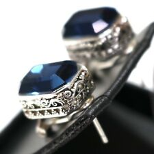 Vintage Antique Blue Sapphire Earrings 14K White Gold Plated Tibetan Silver Gift