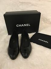 Chanel Crumpled Calfskin With Patent Cap Toe