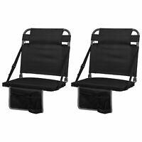 Eastpoint Sports Adjustable Backrest Stadium Seat w/ Cup Holder, Black (2 Pack)