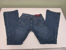 LUCKY BRAND JEANS DENIM DUNGAREES FLARE LEG BUTTON ZIP FLY WOMEN'S SIZE 8