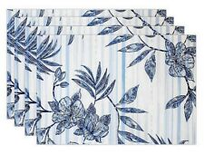 Tommy Bahama Delray Placemats Set of 4 Beach Summer House Floral Blue Tropical