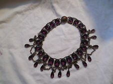 Vintage amethyst purple glass art deco necklace, choker stunning!