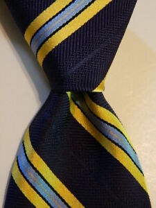 BROOKS BROTHERS Makers & Merchants Silk Necktie Designer STRIPED Blue/Yellow EUC