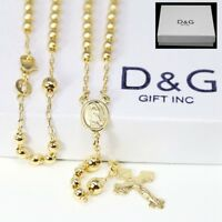 Women 14K Rose Gold Plated Silver Rosary Necklace 2.5mm Bead Cross Italian Chain