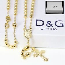 "DG  Women's 18"" Gold Filled;Rosary VIRGIN MARY+JESUS CROSS Necklace Unisex + BOX"