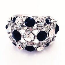 USA RING Rhinestone Crystal Fashion Gemstone Silver Black White SIZE-9 B5