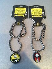 """NIGHTMARE BEFORE CHRISTMAS 2 16"""" JACK & SALLY NECKLACES 2003 MINT NEVER USED"""