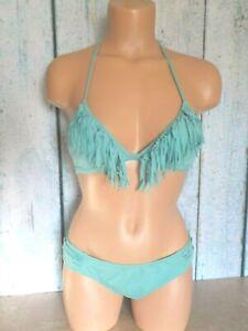 S/P-M Victoria's Secret Fringe Teeny Triangle Padded Bikini Set Green 77C New