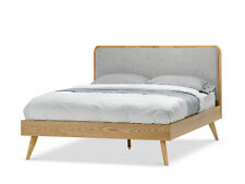 Oak Wood Queen Size Bed with Mid Century Grey Fabric Retro Panel Headboard