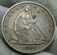 1860 Seated Liberty Half Dollar 50C - Nice Coin, Key Date 302,700 Minted (9880)