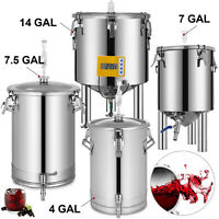 Brew Bucket Fermenter Beer In-Vessel Brewing Equipment w/Stainless Handles