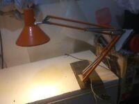 Vintage Mid-Century MCM Atomic Luminier Orange Drafting Articulated Lamp Light