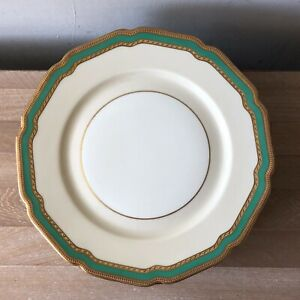 Lovely set of 10 Rosenthal Ivory Coronation Green & Gold Encrusted Plates