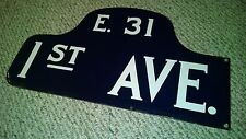 NYC SIGN PORCELAIN EAST 31 STREET 1ST AVE MANHATTAN HUMPBACK TRENDY MIDTOWN NY