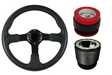 F2 BLACK RED Quick Release Steering Wheel + Boss Kit RB for DAIHATSU 050