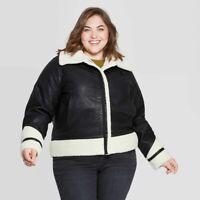 Universal Thread Women's Plus Size Sherpa Moto Jacket, Black, Size 2X, NWT